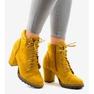 Żółte zamszowe botki na słupku 995-31 2