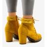 Żółte zamszowe botki na słupku 995-31 3