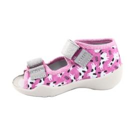 Befado obuwie dziecięce 242P095 białe czarne różowe szare 1