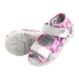 Befado obuwie dziecięce 242P095 białe czarne różowe szare 4