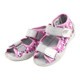 Befado obuwie dziecięce 242P095 białe czarne różowe szare 2