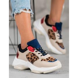SHELOVET Modne Sneakersy Leopard Print brązowe wielokolorowe 1