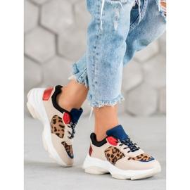 SHELOVET Modne Sneakersy Leopard Print brązowe wielokolorowe 2