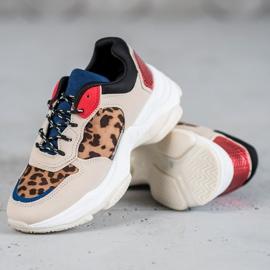 SHELOVET Modne Sneakersy Leopard Print brązowe wielokolorowe 3