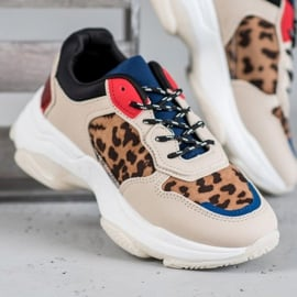 SHELOVET Modne Sneakersy Leopard Print brązowe wielokolorowe 4