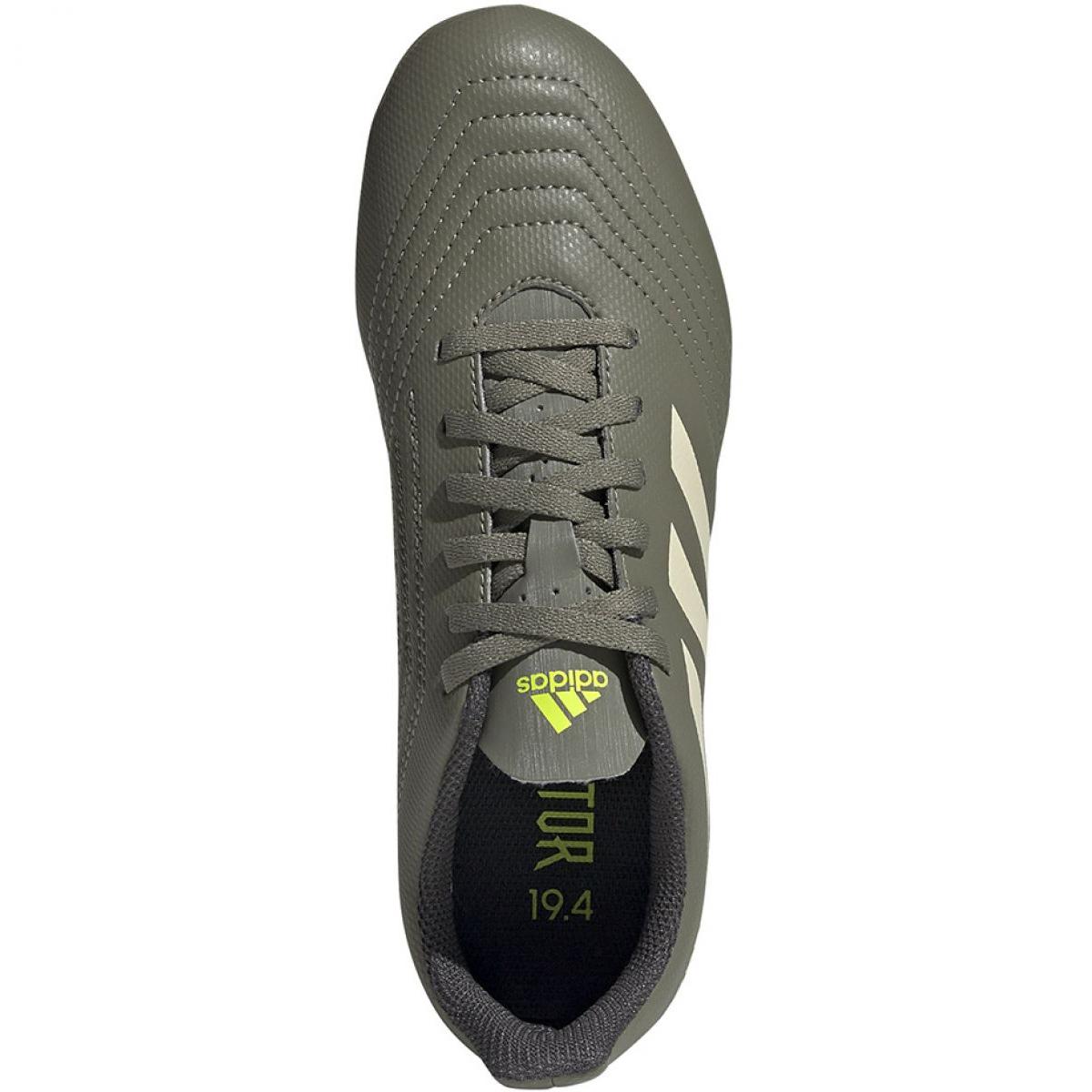 Buty piłkarskie adidas Predator 19.4 FxG Jr EF8221 biały, zielony szare