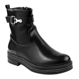 Czarne płaskie botki z diamencikami C-68 1