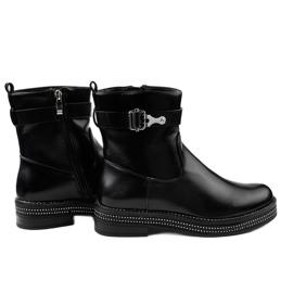 Czarne płaskie botki z diamencikami C-68 2