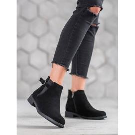 Ideal Shoes Zamszowe Botki czarne 1