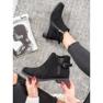 Ideal Shoes Zamszowe Botki czarne 4