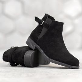 Ideal Shoes Zamszowe Botki czarne 2