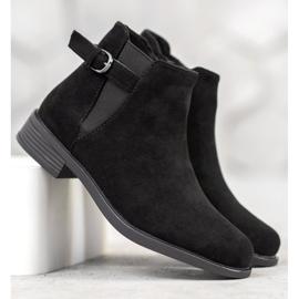 Ideal Shoes Zamszowe Botki czarne 3