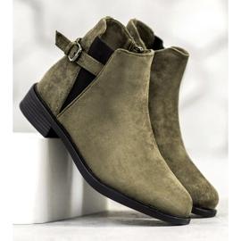 Ideal Shoes Zamszowe Botki zielone 4