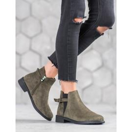 Ideal Shoes Zamszowe Botki zielone 1
