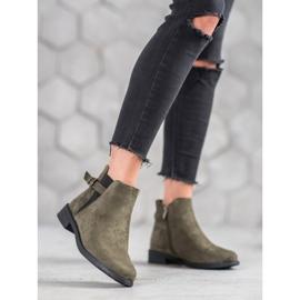 Ideal Shoes Zamszowe Botki zielone 2