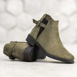 Ideal Shoes Zamszowe Botki zielone 3