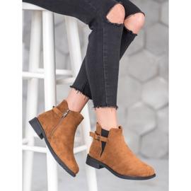 Ideal Shoes Zamszowe Botki brązowe 5
