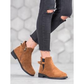 Ideal Shoes Zamszowe Botki brązowe 3