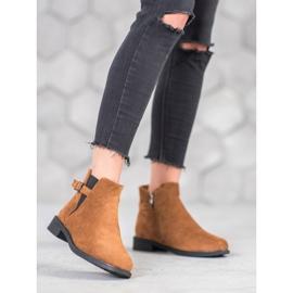 Ideal Shoes Zamszowe Botki brązowe 4