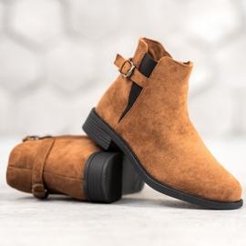 Ideal Shoes Zamszowe Botki brązowe 1