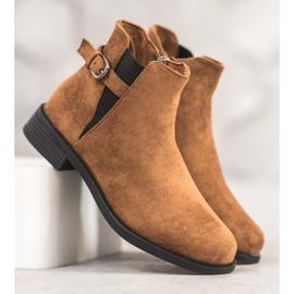 Ideal Shoes Zamszowe Botki brązowe 2