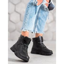 SHELOVET Botki Na Platformie Fashion czarne 5