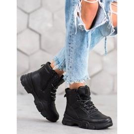 SHELOVET Botki Na Platformie Fashion czarne 4