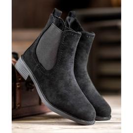 Ideal Shoes Casualowe Sztyblety czarne 3