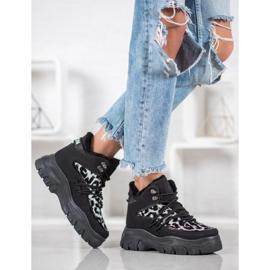 SHELOVET Sneakersy Leopard Print czarne 1