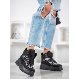 SHELOVET Sneakersy Leopard Print czarne 2