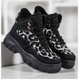 SHELOVET Sneakersy Leopard Print czarne 3