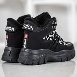 SHELOVET Sneakersy Leopard Print czarne 4