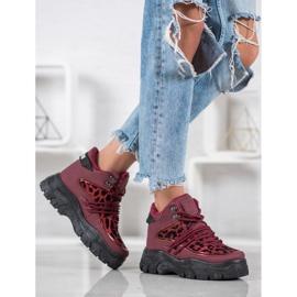 SHELOVET Sneakersy Leopard Print czerwone 5