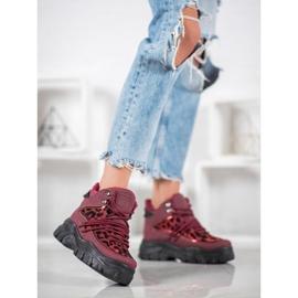 SHELOVET Sneakersy Leopard Print czerwone 1