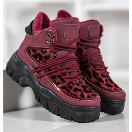 SHELOVET Sneakersy Leopard Print czerwone 4