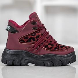 SHELOVET Sneakersy Leopard Print czerwone 2