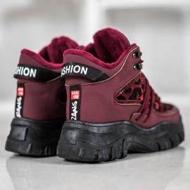 SHELOVET Sneakersy Leopard Print czerwone 3