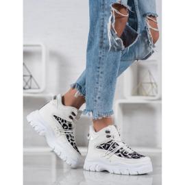 SHELOVET Sneakersy Leopard Print białe 5