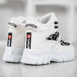 SHELOVET Sneakersy Leopard Print białe 4