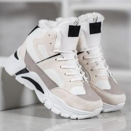 Bella Paris Sneakersy Z Futerkiem białe wielokolorowe 3