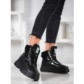 Bella Paris Sneakersy Z Kożuszkiem czarne 2