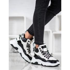 Bella Paris Sznurowane Sneakersy Fashion białe czarne 3