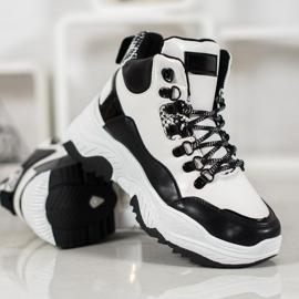 Bella Paris Sznurowane Sneakersy Fashion białe czarne 2