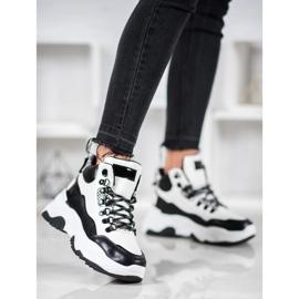 Bella Paris Sznurowane Sneakersy Fashion białe czarne 4