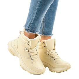 Beżowe damskie sneakersy ocieplane C-3132 beżowy 1
