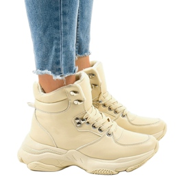 Beżowe damskie sneakersy ocieplane C-3132 beżowy 2