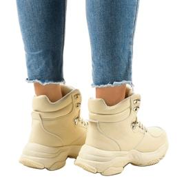 Beżowe damskie sneakersy ocieplane C-3132 beżowy 3