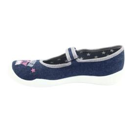 Befado obuwie dziecięce 114Y369 niebieskie różowe szare 2