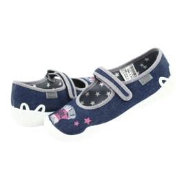 Befado obuwie dziecięce 114Y369 niebieskie różowe szare 4