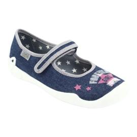 Befado obuwie dziecięce 114Y369 niebieskie różowe szare 1